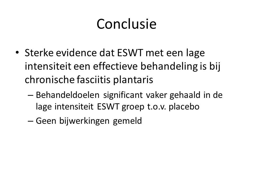 Conclusie Sterke evidence dat ESWT met een lage intensiteit een effectieve behandeling is bij chronische fasciitis plantaris.