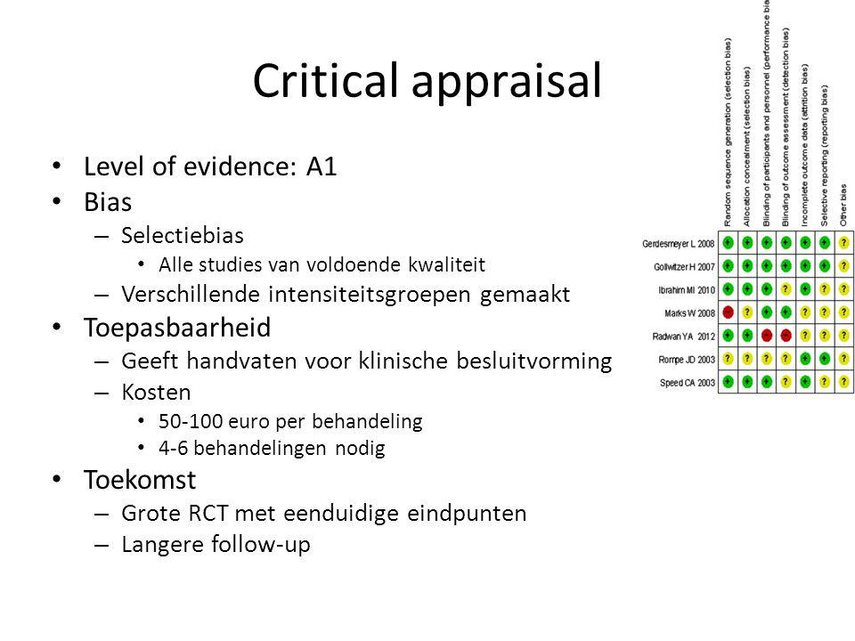 Critical appraisal Level of evidence: A1 Bias Toepasbaarheid Toekomst