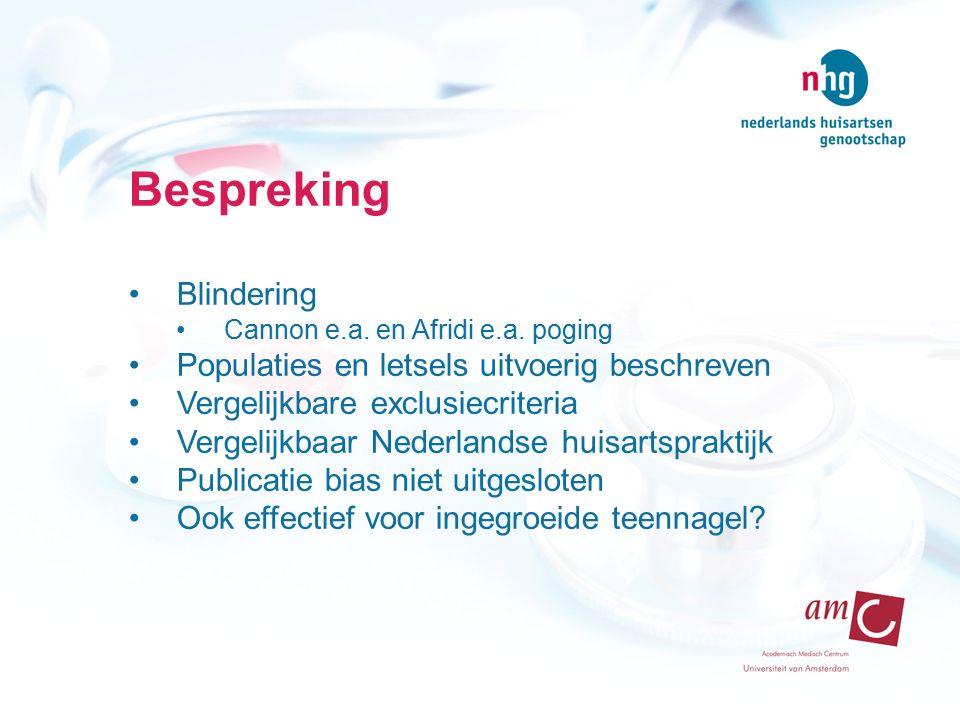 Bespreking Blindering Populaties en letsels uitvoerig beschreven
