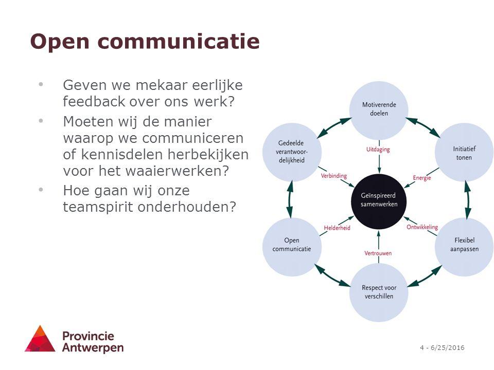 Open communicatie Geven we mekaar eerlijke feedback over ons werk