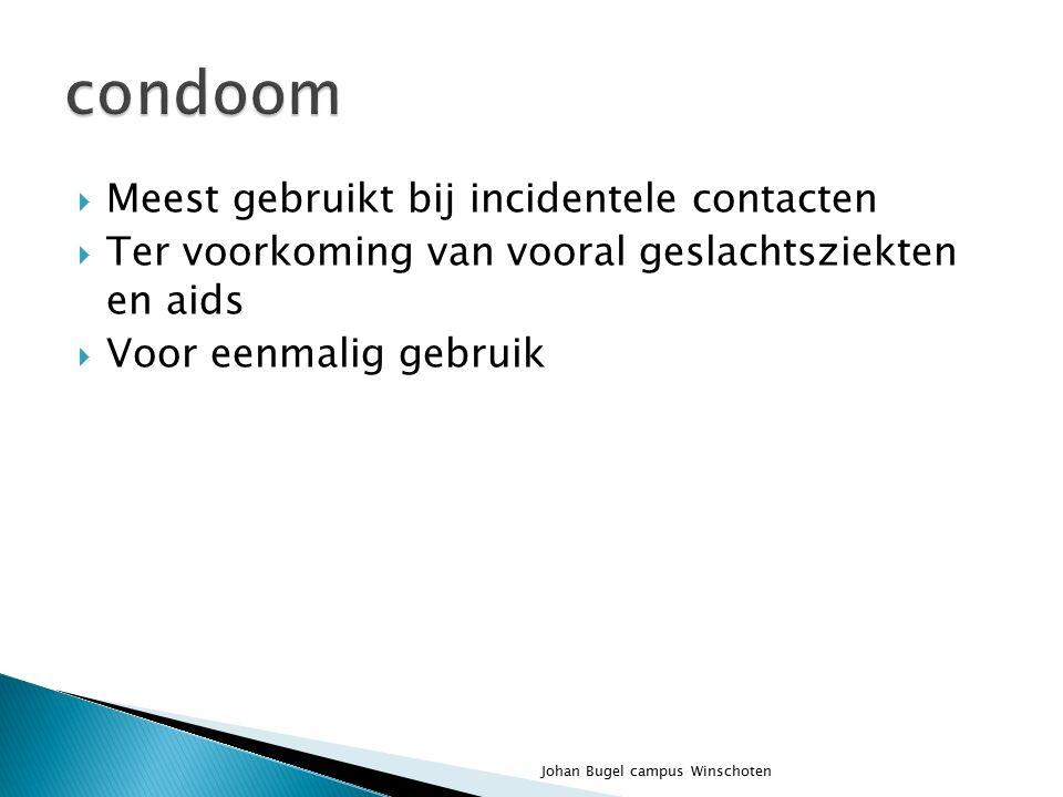 condoom Meest gebruikt bij incidentele contacten