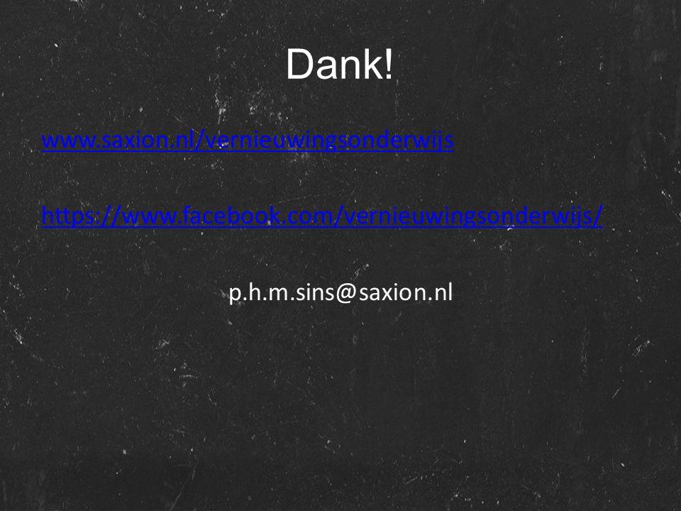 Dank! www.saxion.nl/vernieuwingsonderwijs