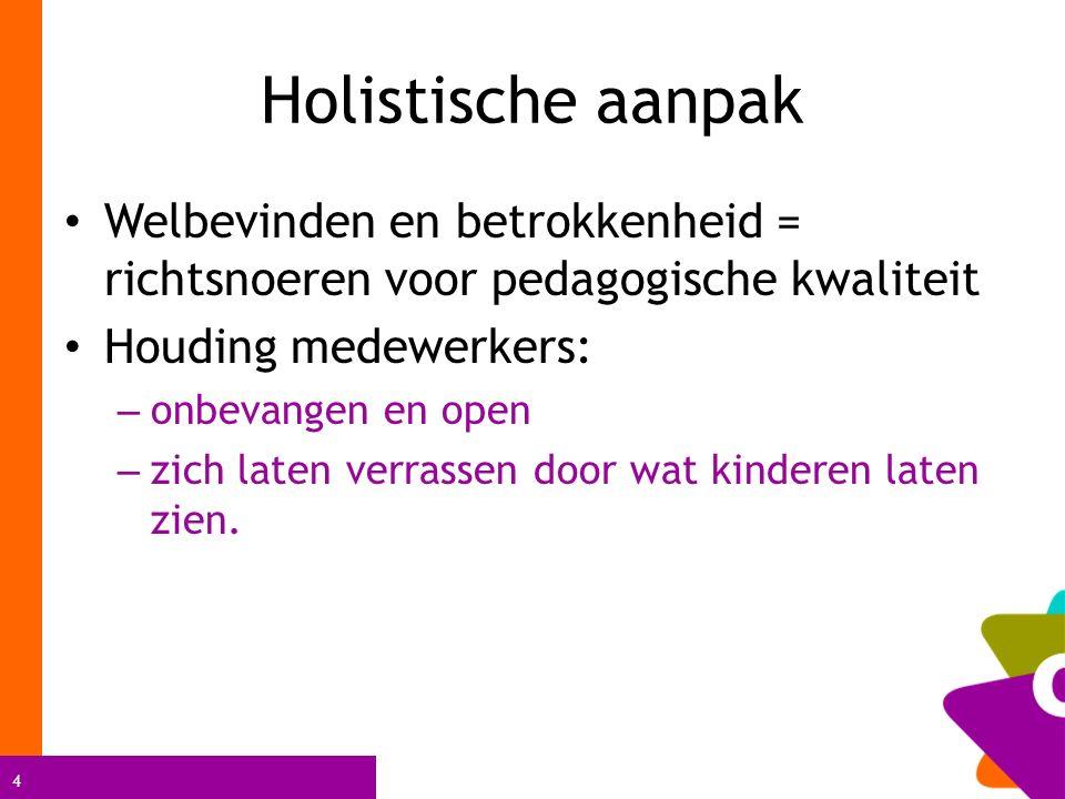Holistische aanpak Welbevinden en betrokkenheid = richtsnoeren voor pedagogische kwaliteit. Houding medewerkers: