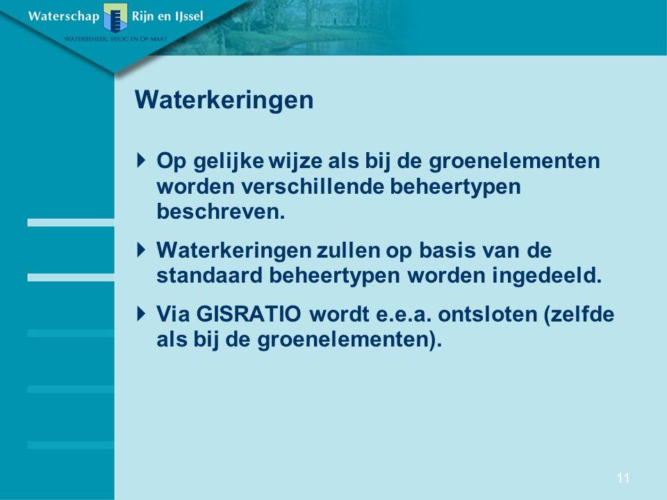 Waterkeringen Op gelijke wijze als bij de groenelementen worden verschillende beheertypen beschreven.
