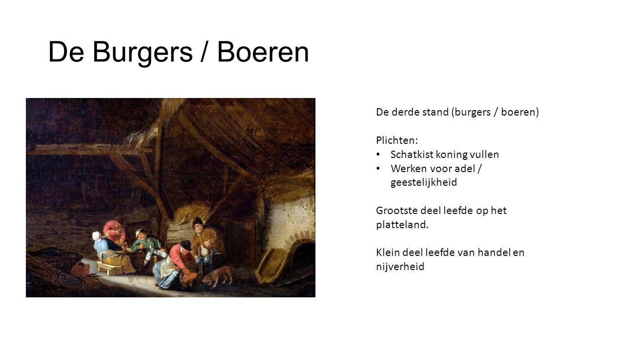 De Burgers / Boeren De derde stand (burgers / boeren) Plichten:
