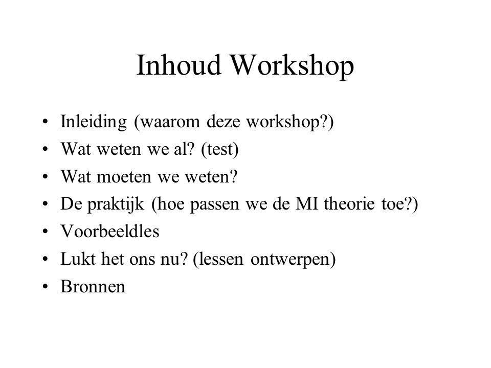Inhoud Workshop Inleiding (waarom deze workshop )
