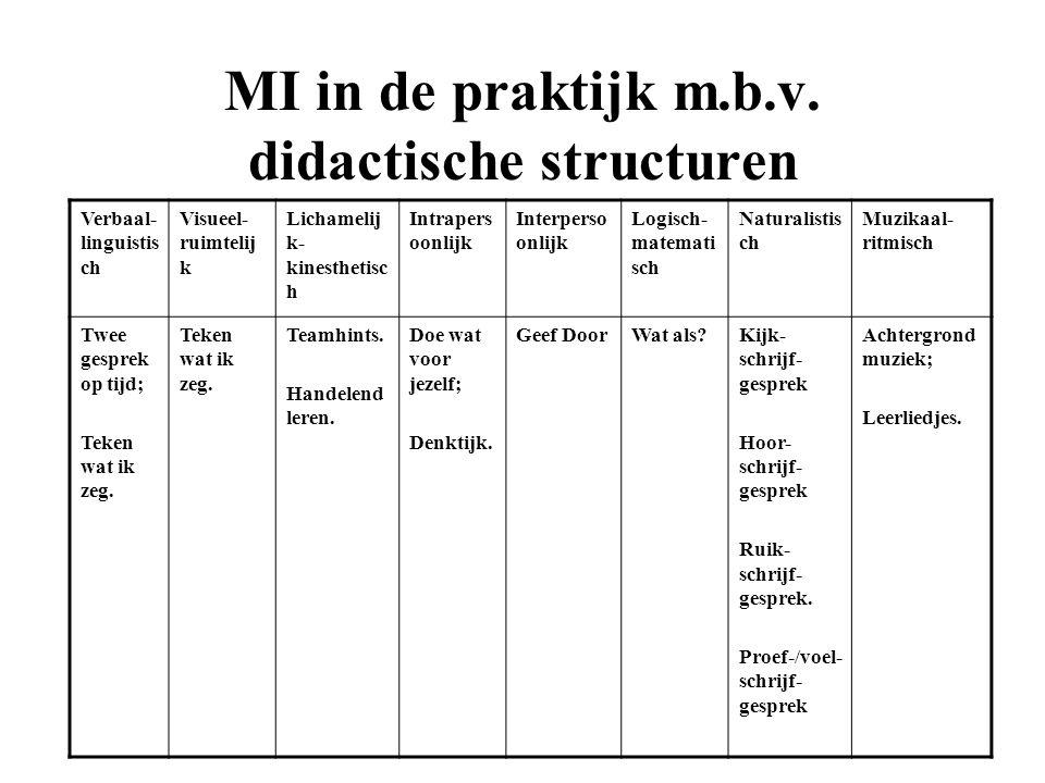 MI in de praktijk m.b.v. didactische structuren