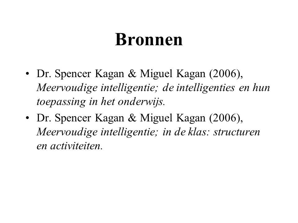 Bronnen Dr. Spencer Kagan & Miguel Kagan (2006), Meervoudige intelligentie; de intelligenties en hun toepassing in het onderwijs.