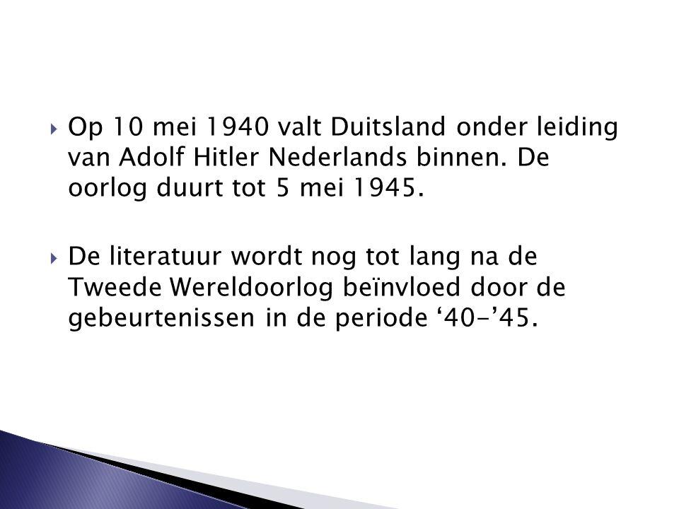 Op 10 mei 1940 valt Duitsland onder leiding van Adolf Hitler Nederlands binnen. De oorlog duurt tot 5 mei 1945.