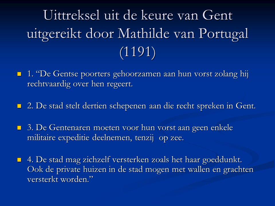 Uittreksel uit de keure van Gent uitgereikt door Mathilde van Portugal (1191)