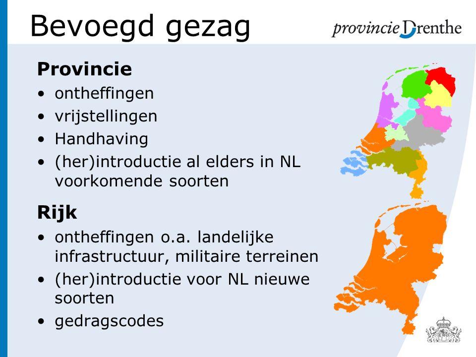 Bevoegd gezag Provincie Rijk ontheffingen vrijstellingen Handhaving