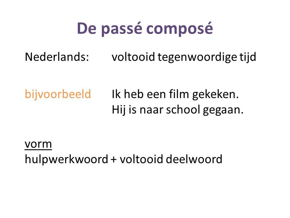 De passé composé Nederlands: voltooid tegenwoordige tijd