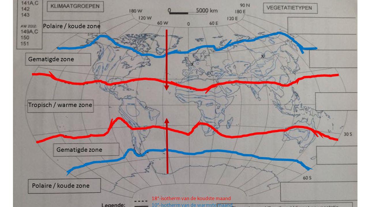 Polaire / koude zone Gematigde zone Tropisch / warme zone