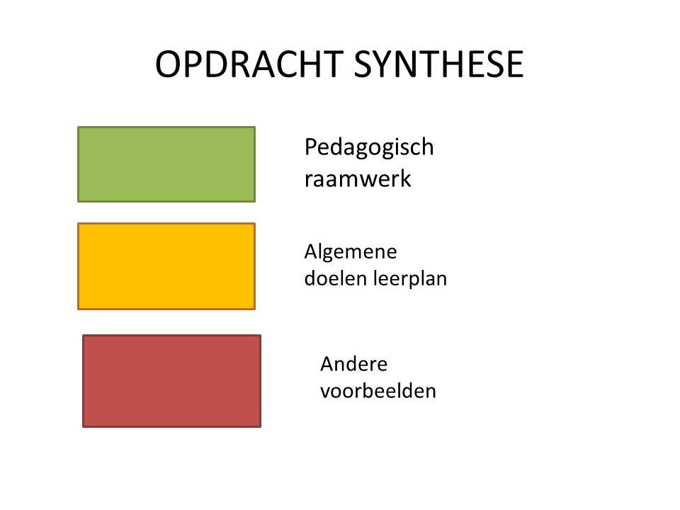 OPDRACHT SYNTHESE Pedagogisch raamwerk Algemene doelen leerplan