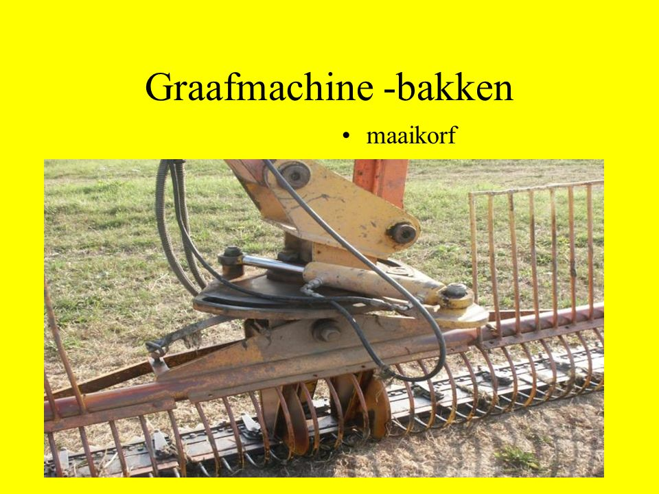 Graafmachine -bakken maaikorf
