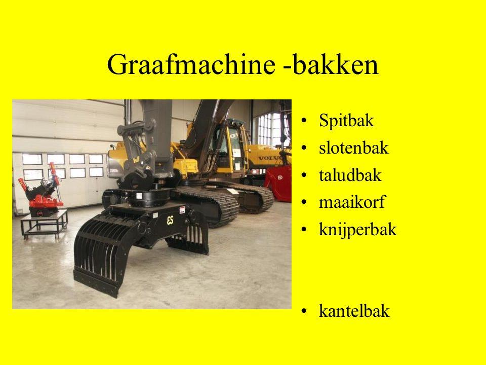 Graafmachine -bakken Spitbak slotenbak taludbak maaikorf knijperbak
