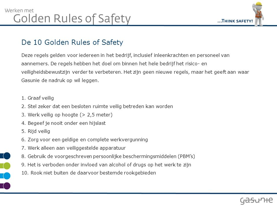 De 10 Golden Rules of Safety