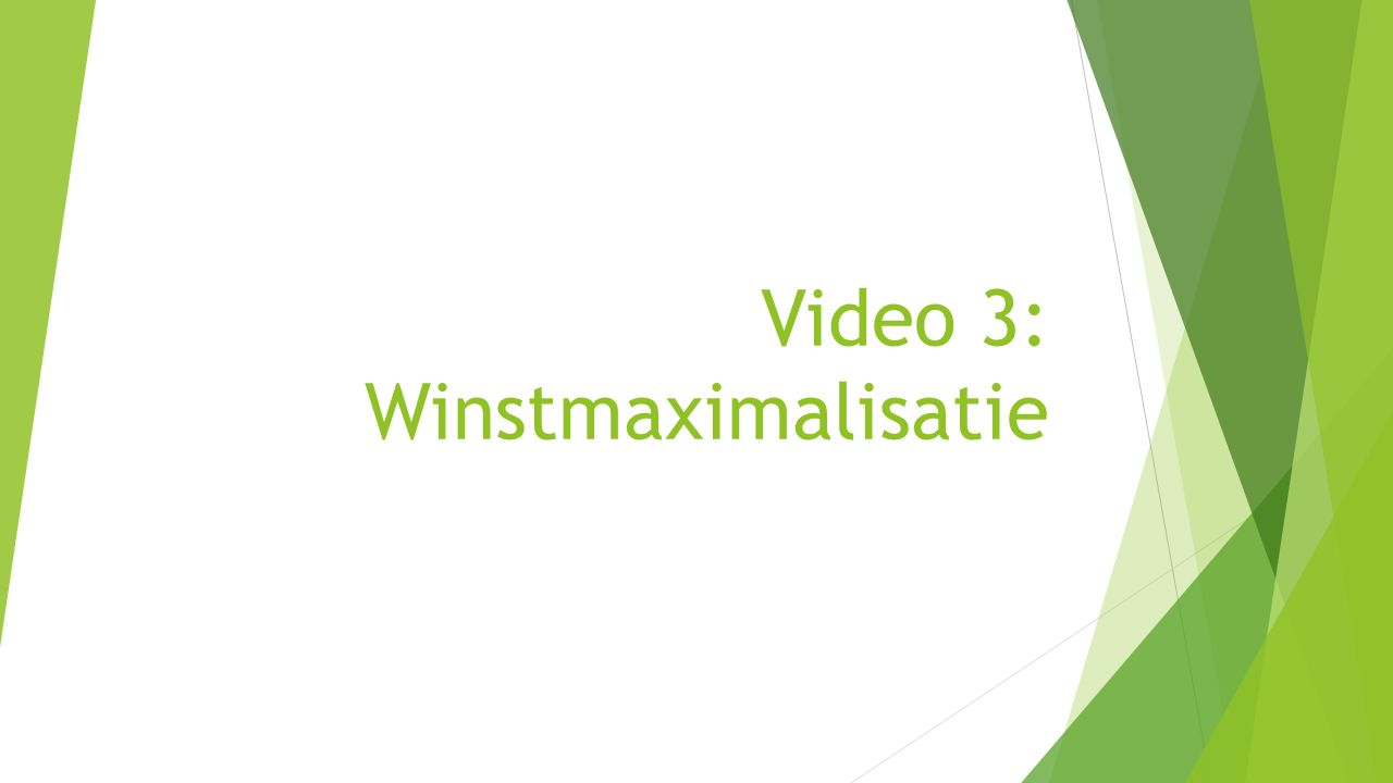 Video 3: Winstmaximalisatie