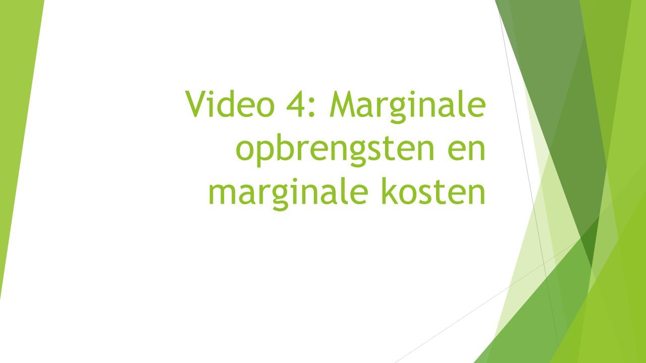 Video 4: Marginale opbrengsten en marginale kosten