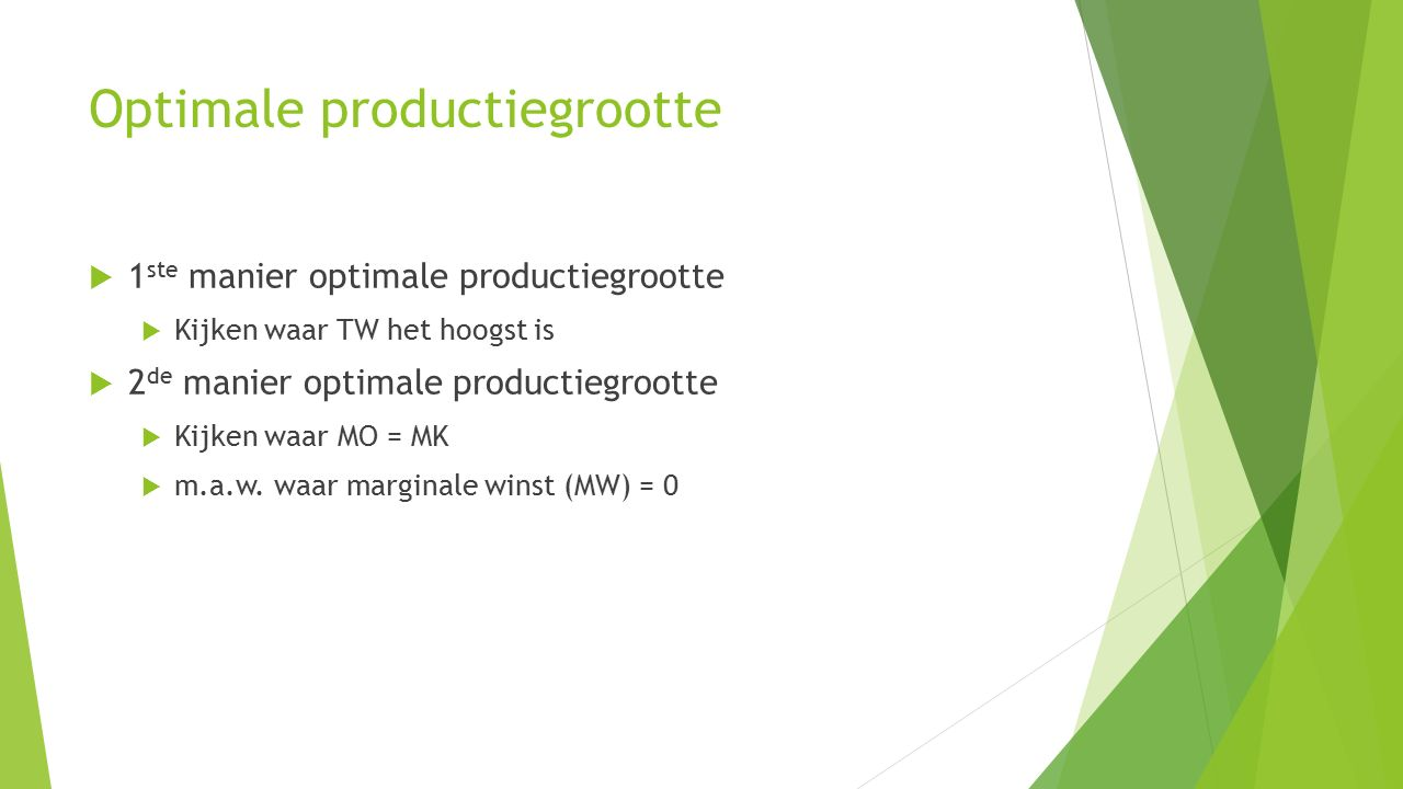 Optimale productiegrootte