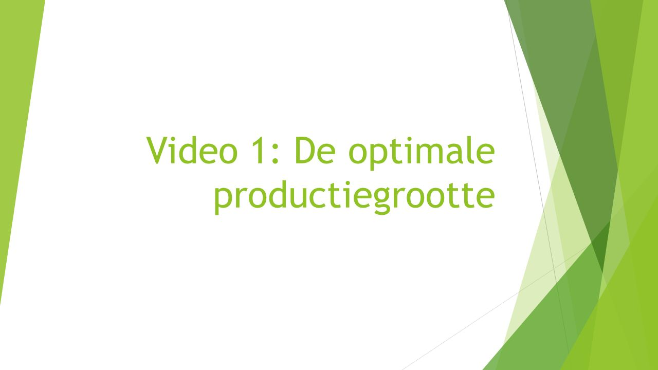 Video 1: De optimale productiegrootte