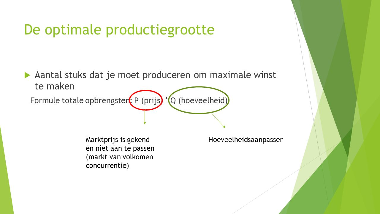 De optimale productiegrootte