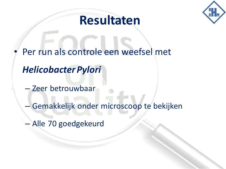 Resultaten Per run als controle een weefsel met Helicobacter Pylori