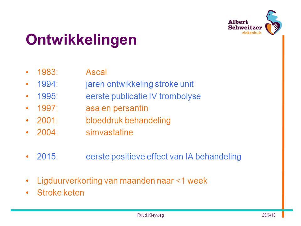 Ontwikkelingen 1983: Ascal 1994: jaren ontwikkeling stroke unit