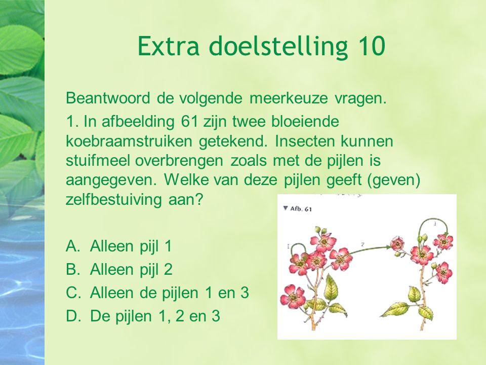 Extra doelstelling 10 Beantwoord de volgende meerkeuze vragen.