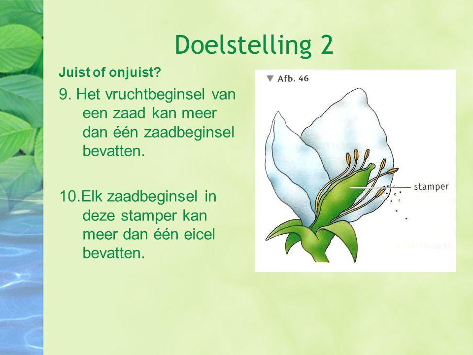 Doelstelling 2 Juist of onjuist 9. Het vruchtbeginsel van een zaad kan meer dan één zaadbeginsel bevatten.