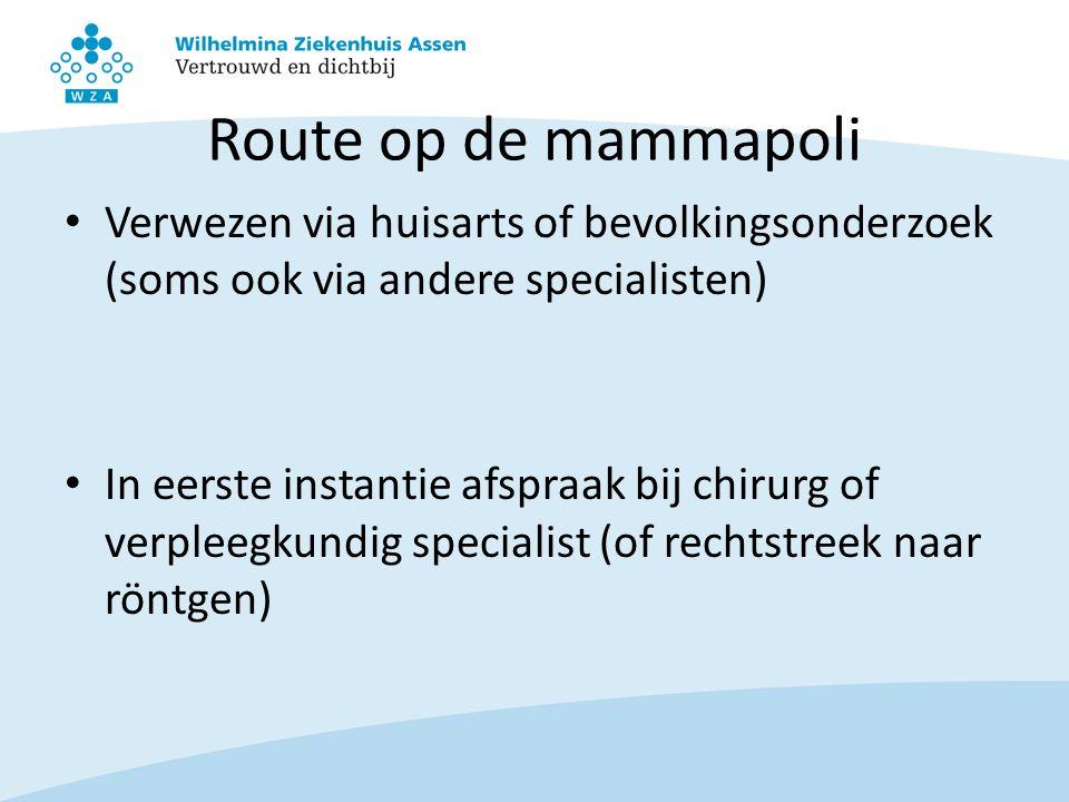 Route op de mammapoli Verwezen via huisarts of bevolkingsonderzoek (soms ook via andere specialisten)