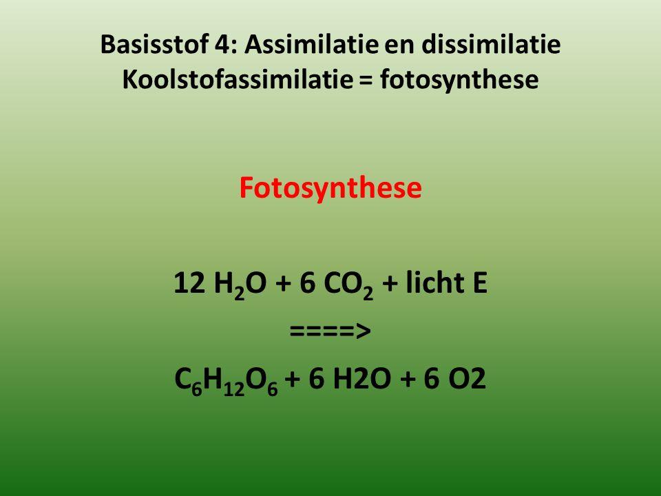 Fotosynthese 12 H2O + 6 CO2 + licht E ====> C6H12O6 + 6 H2O + 6 O2