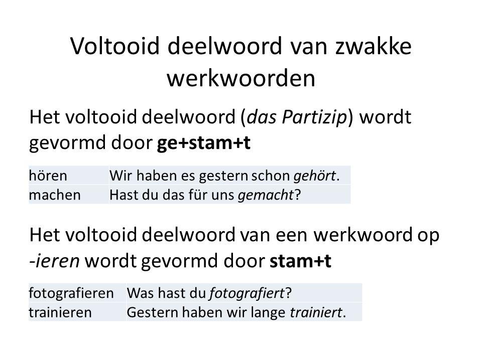 Voltooid deelwoord van zwakke werkwoorden