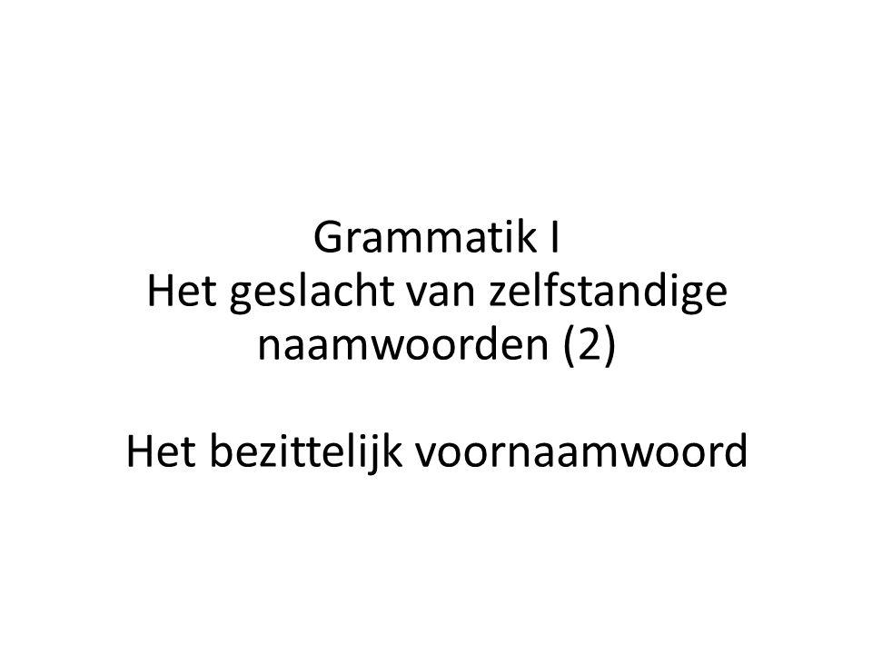 Grammatik I Het geslacht van zelfstandige naamwoorden (2) Het bezittelijk voornaamwoord