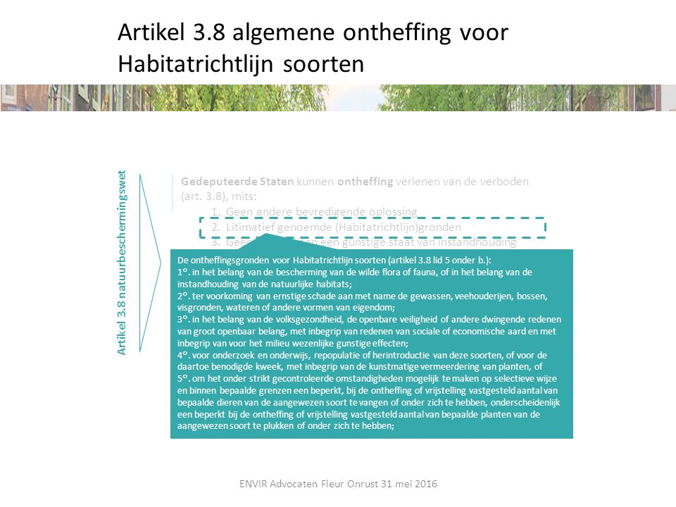 Artikel 3.8 algemene ontheffing voor Habitatrichtlijn soorten