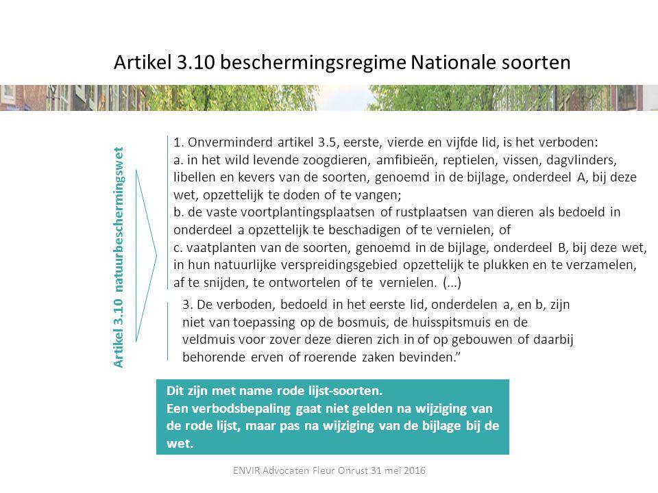 Artikel 3.10 beschermingsregime Nationale soorten