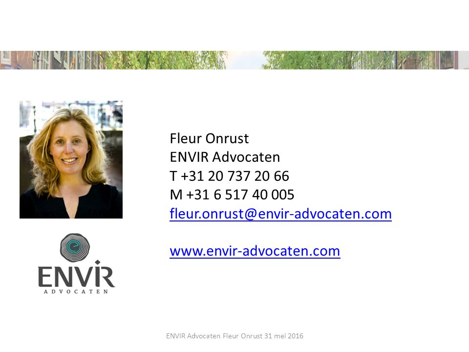 ENVIR Advocaten Fleur Onrust 31 mei 2016