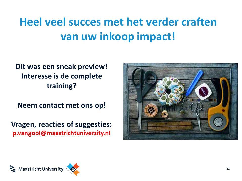 Heel veel succes met het verder craften van uw inkoop impact!