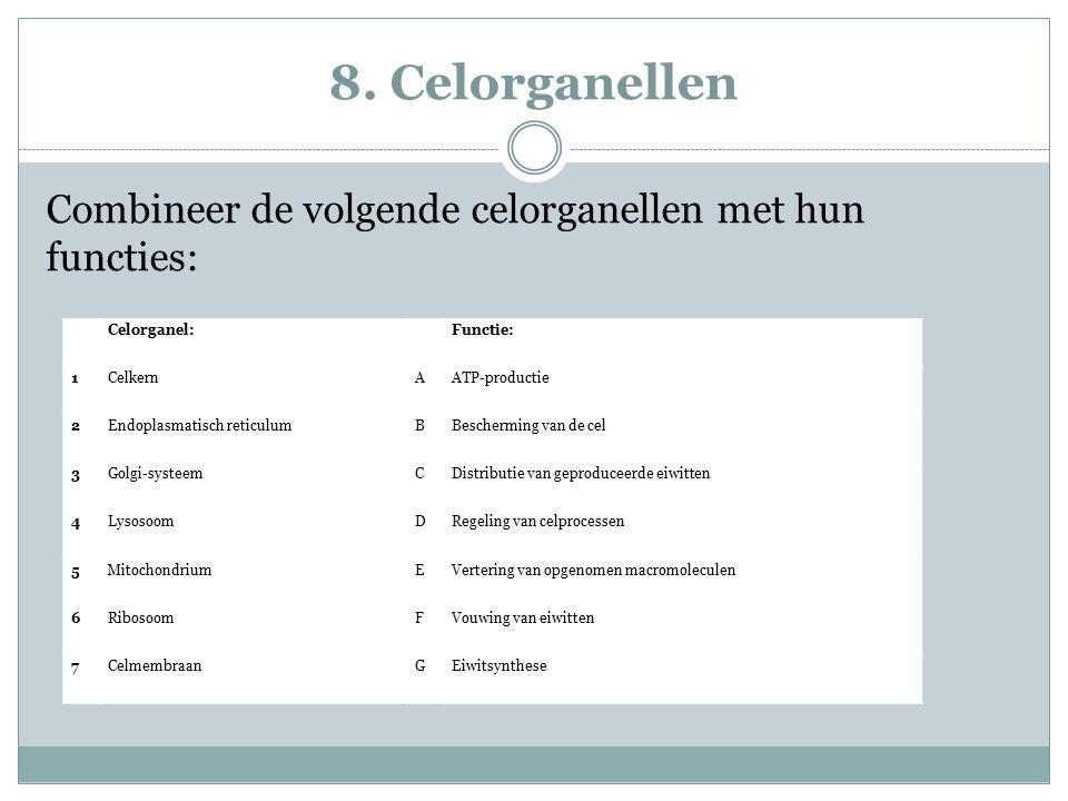 8. Celorganellen Combineer de volgende celorganellen met hun functies: