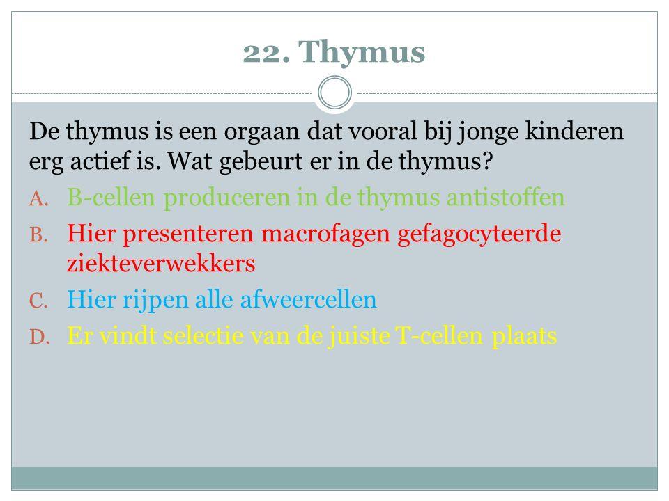 22. Thymus De thymus is een orgaan dat vooral bij jonge kinderen erg actief is. Wat gebeurt er in de thymus