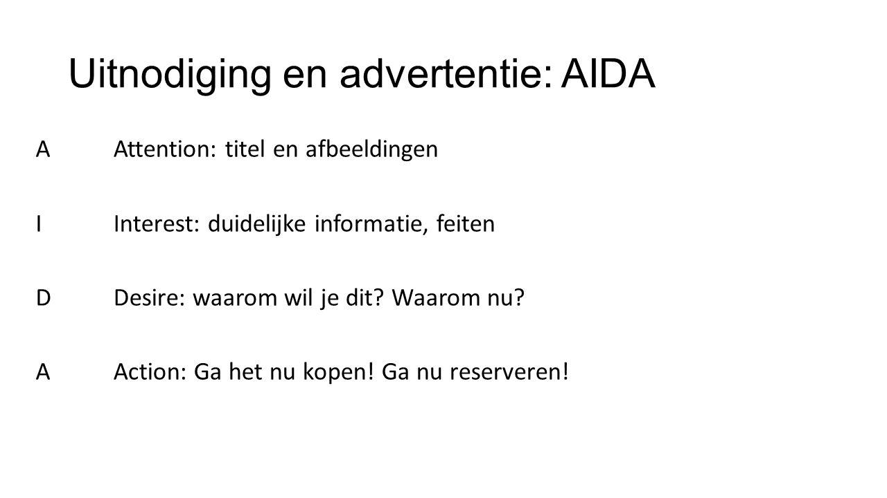 Uitnodiging en advertentie: AIDA