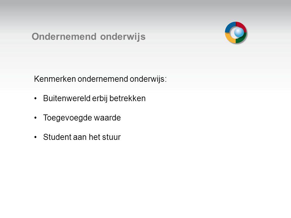 Welkom Ondernemend onderwijs Kenmerken ondernemend onderwijs: