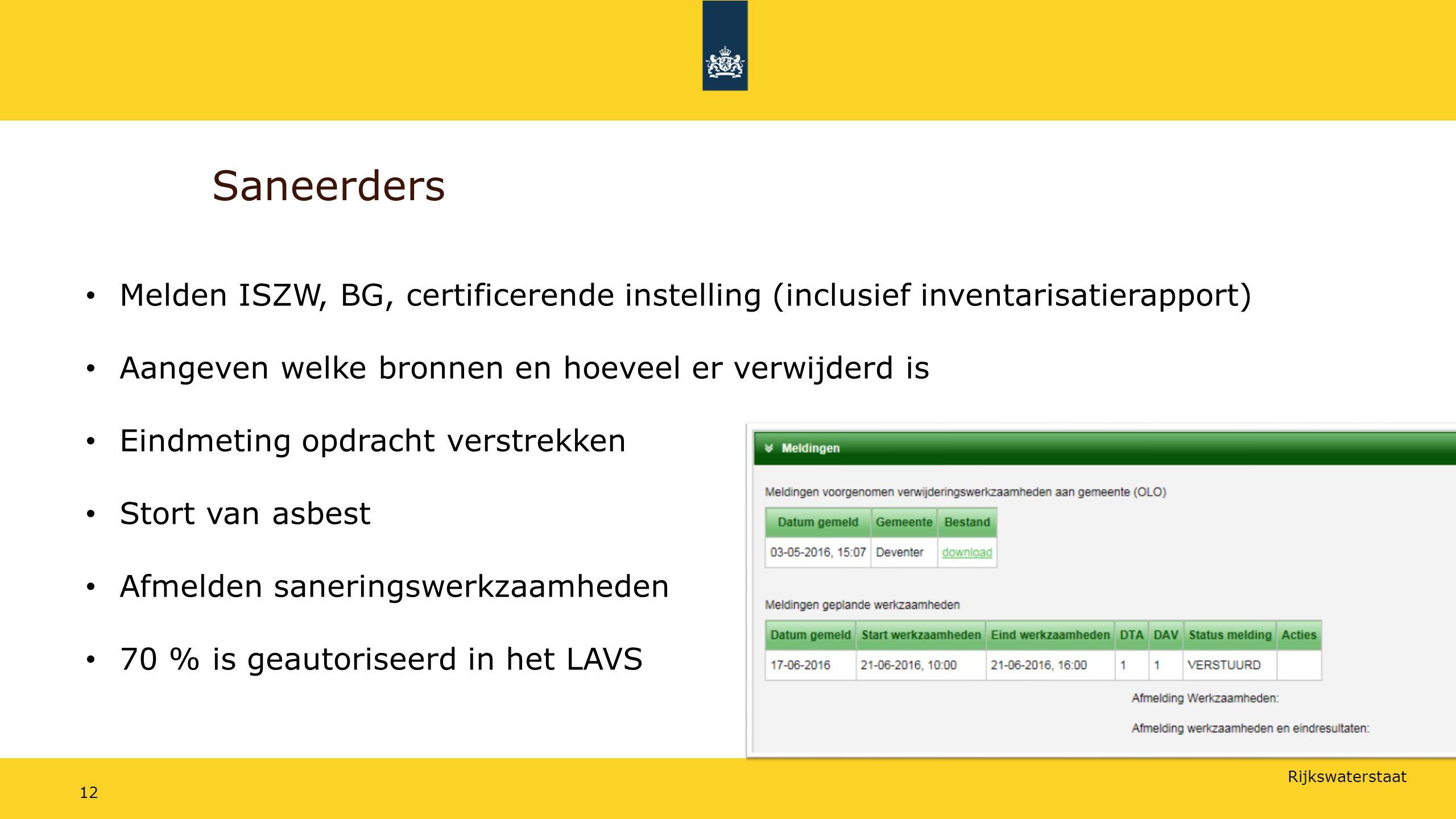 Saneerders Melden ISZW, BG, certificerende instelling (inclusief inventarisatierapport) Aangeven welke bronnen en hoeveel er verwijderd is.