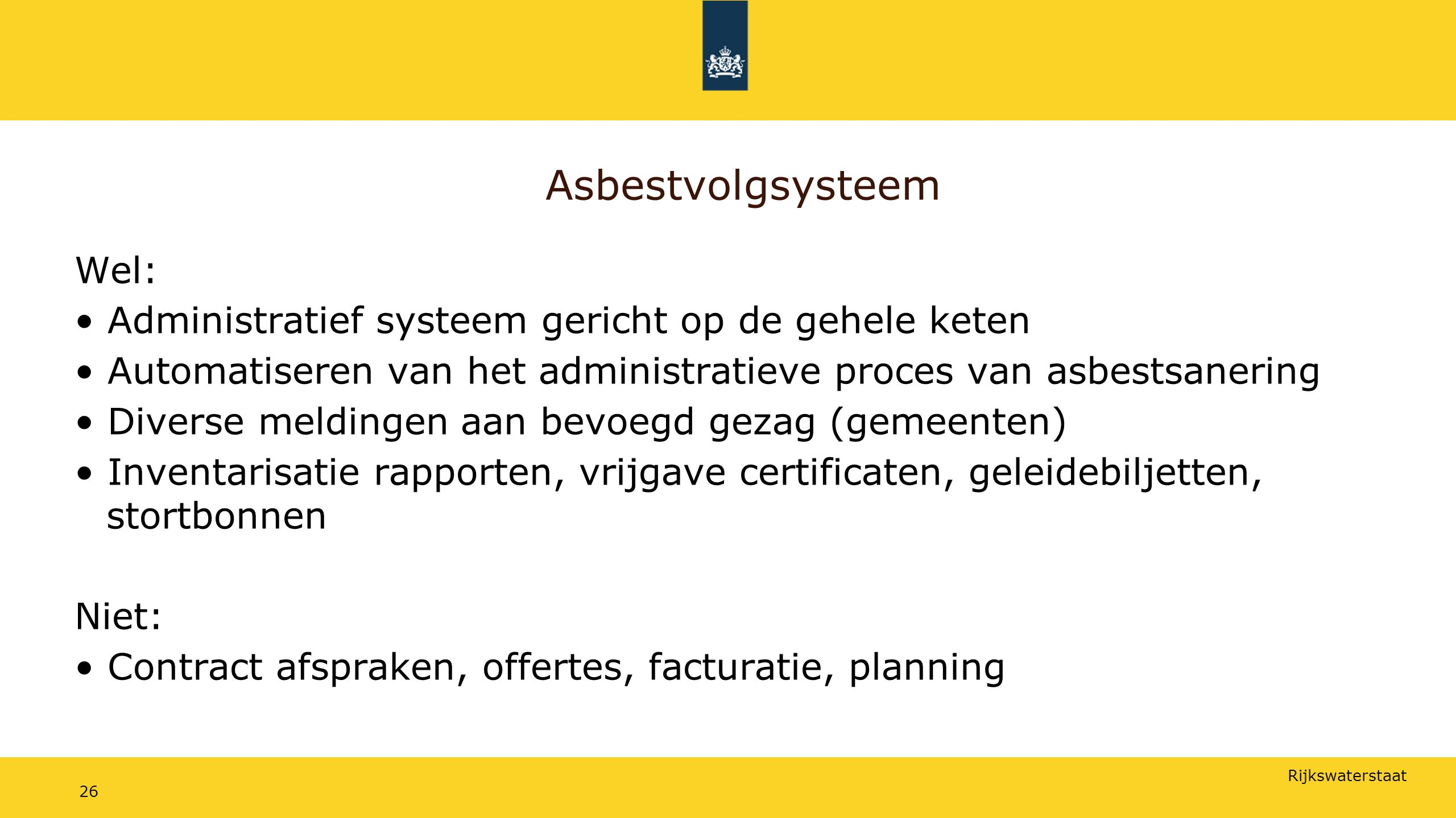 Asbestvolgsysteem Wel: