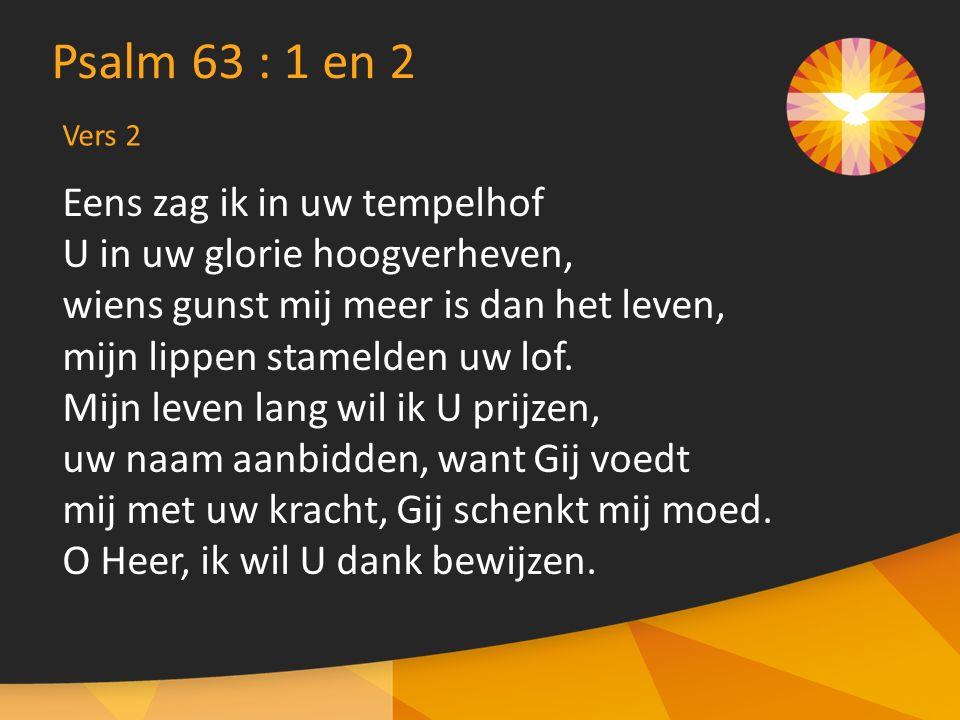 Psalm 63 : 1 en 2 Eens zag ik in uw tempelhof