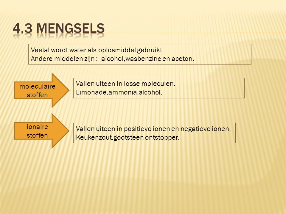 4.3 Mengsels Veelal wordt water als oplosmiddel gebruikt.