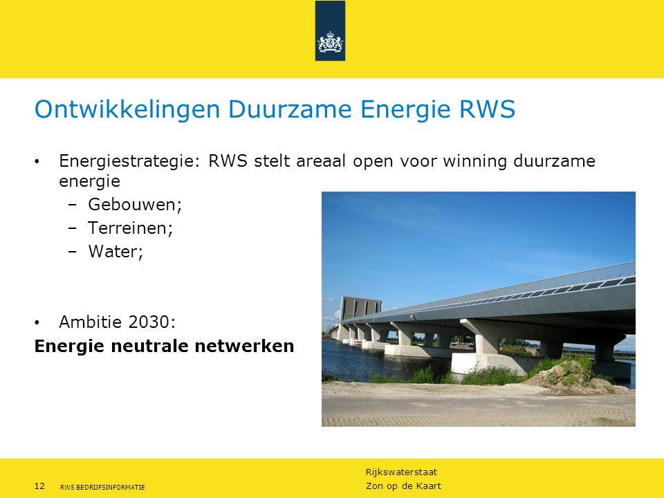 Ontwikkelingen Duurzame Energie RWS