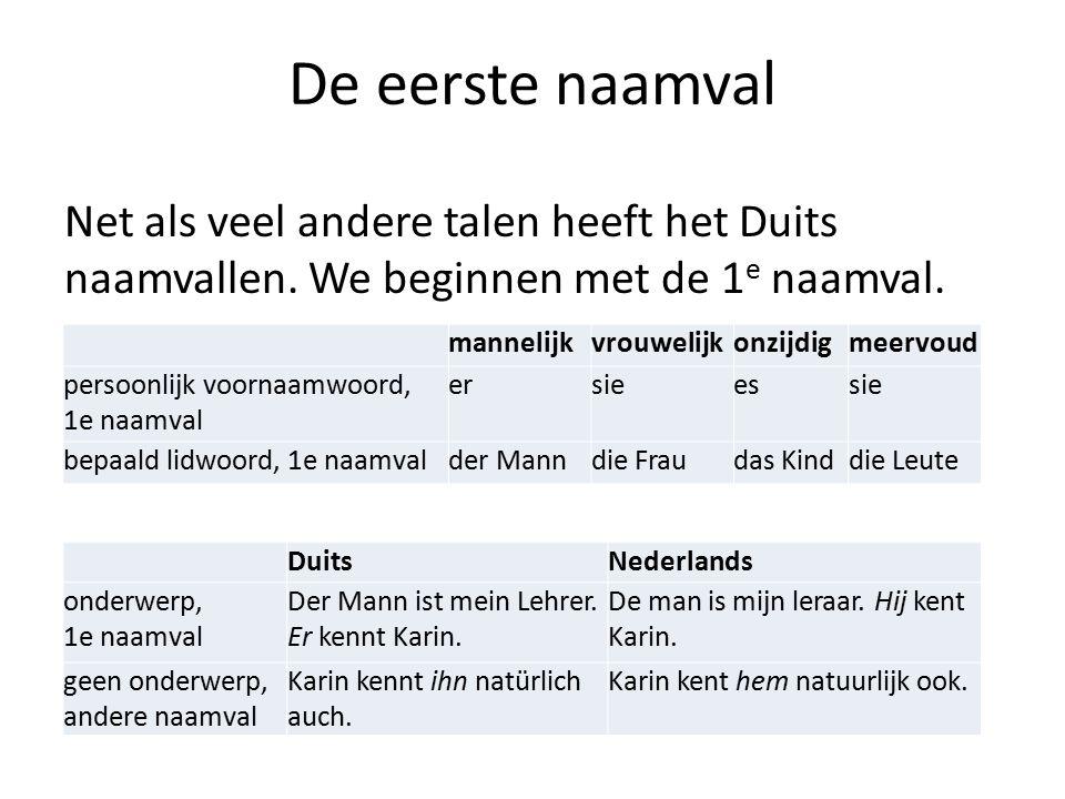 De eerste naamval Net als veel andere talen heeft het Duits naamvallen. We beginnen met de 1e naamval.