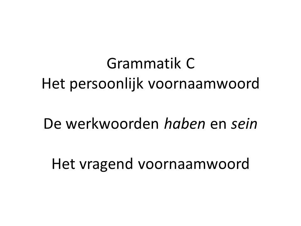 Grammatik C Het persoonlijk voornaamwoord De werkwoorden haben en sein Het vragend voornaamwoord