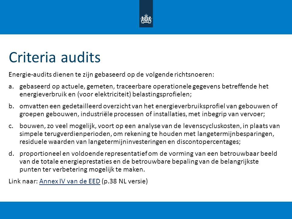 Criteria audits Energie-audits dienen te zijn gebaseerd op de volgende richtsnoeren: